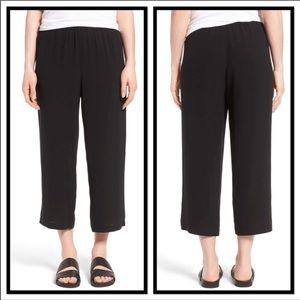 Eileen Fisher Linen Blend Black Culottes/Capris